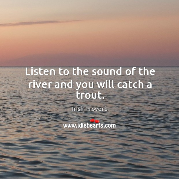 Listen to the sound of the river and you will catch a trout. Irish Proverbs Image
