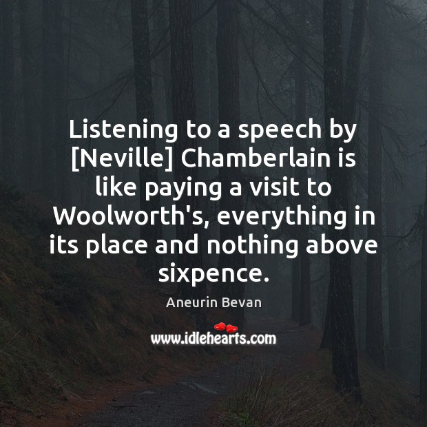 Image, Listening to a speech by [Neville] Chamberlain is like paying a visit