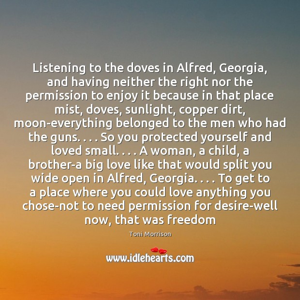 Listening to the doves in Alfred, Georgia, and having neither the right Toni Morrison Picture Quote