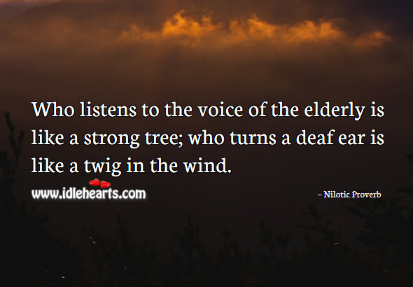 Who listens to the voice of the elderly is like a strong tree; who turns a deaf ear is like a twig in the wind. Nilotic Proverbs Image