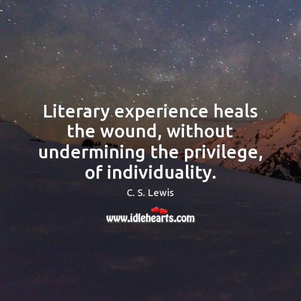 Literary experience heals the wound, without undermining the privilege, of individuality. Image