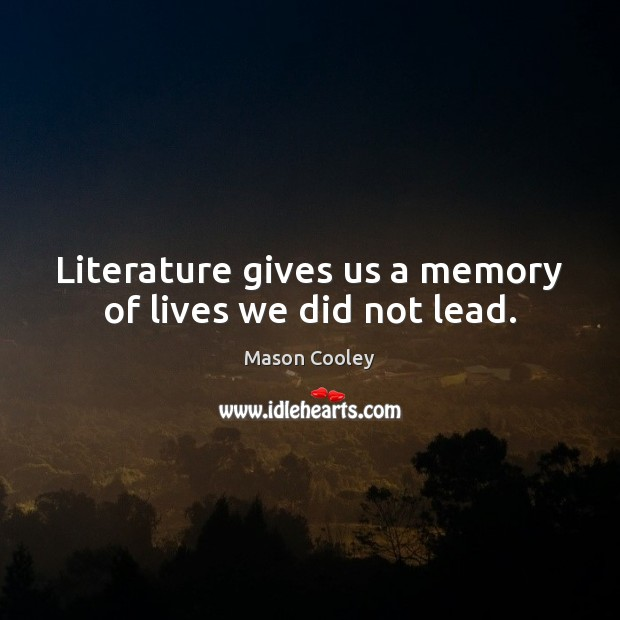 Literature gives us a memory of lives we did not lead. Image