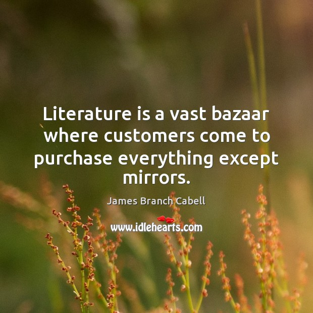 Image, Literature is a vast bazaar where customers come to purchase everything except mirrors.