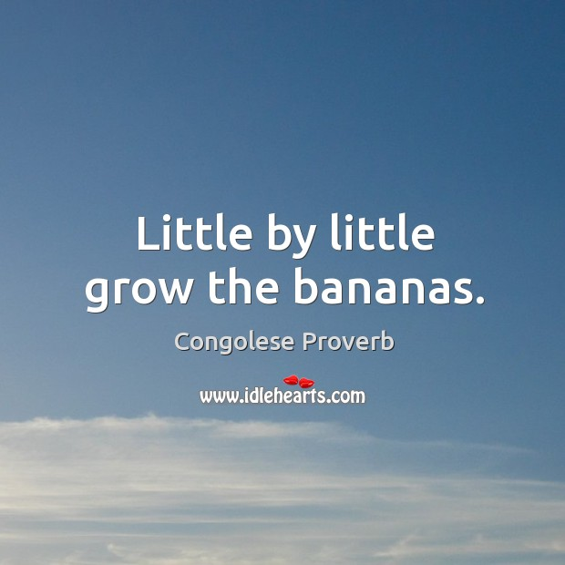 Little by little grow the bananas. Congolese Proverbs Image