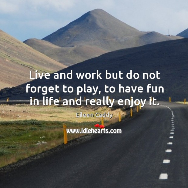 Image, Live and work but do not forget to play, to have fun in life and really enjoy it.