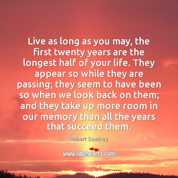 Image, Live as long as you may, the first twenty years are the
