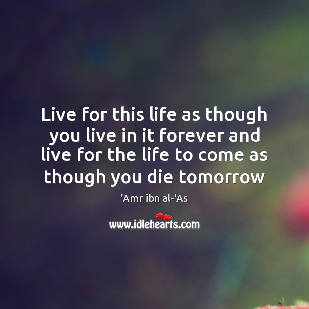 Image, Live for this life as though you live in it forever and