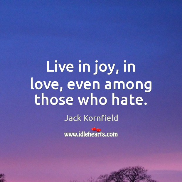 Live in joy, in love, even among those who hate. Image