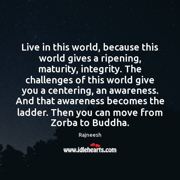 Image, Live in this world, because this world gives a ripening, maturity, integrity.
