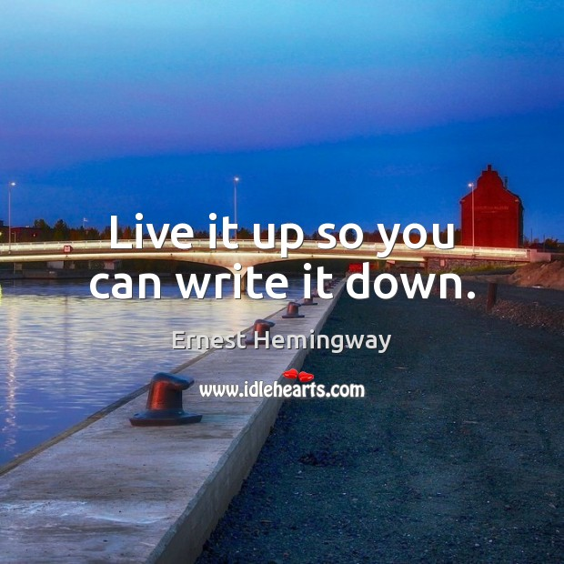 Live it up so you can write it down. Image