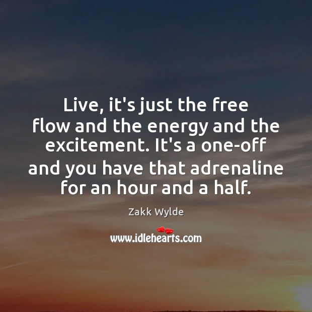 Zakk Wylde Picture Quote image saying: Live, it's just the free flow and the energy and the excitement.