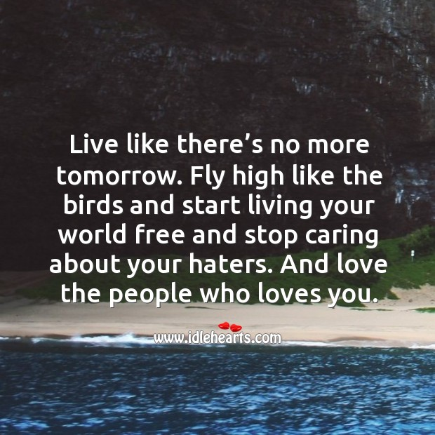 Live like there's no more tomorrow. Fly high like the birds and start living your world free Image