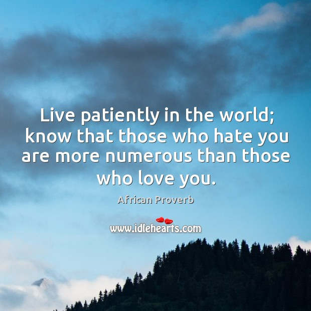 Image, Live patiently in the world; know that those who hate you are