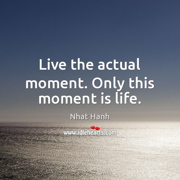 Live the actual moment. Only this moment is life. Nhat Hanh Picture Quote