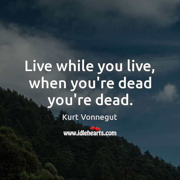 Live while you live, when you're dead you're dead. Kurt Vonnegut Picture Quote