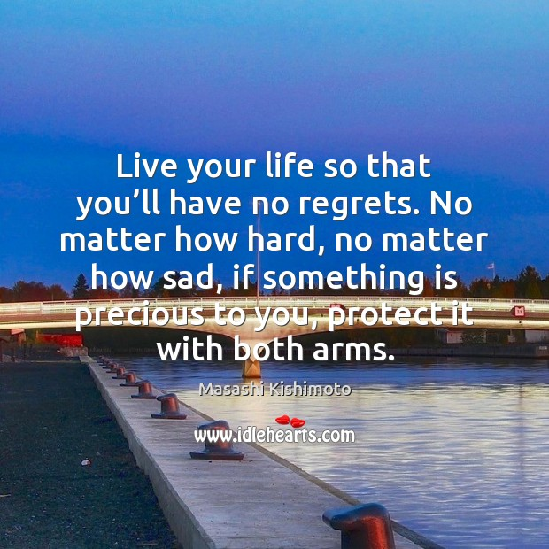 Live your life so that you'll have no regrets. No matter Image