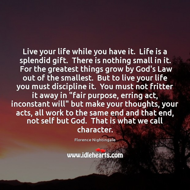 Live your life while you have it.  Life is a splendid gift. Florence Nightingale Picture Quote