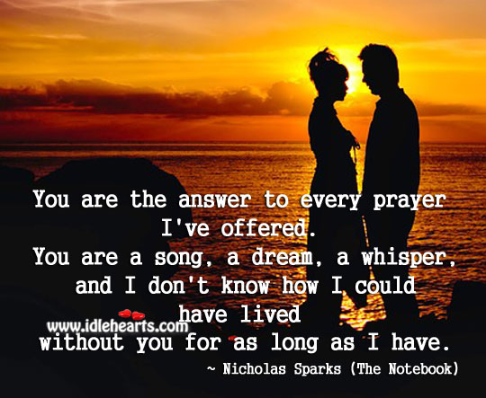 I don't know how I could have lived without you. Nicholas Sparks Picture Quote
