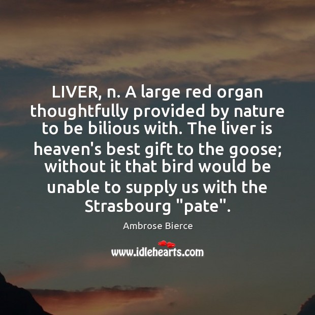 Image, LIVER, n. A large red organ thoughtfully provided by nature to be
