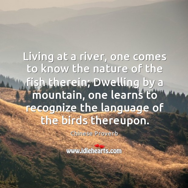 Image, Living at a river, one comes to know the nature of the fish therein.