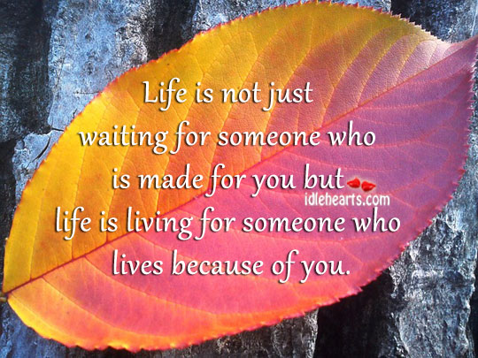 Image, Life is living for someone who lives because of you