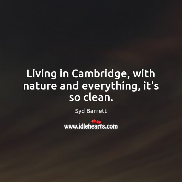 Living in Cambridge, with nature and everything, it's so clean. Image