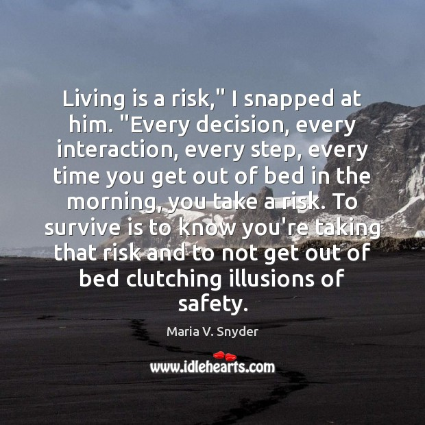 """Living is a risk,"""" I snapped at him. """"Every decision, every interaction, Image"""