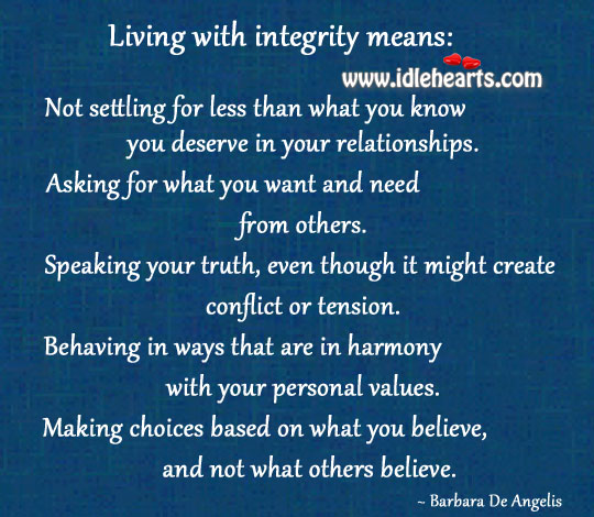 Living With Integrity Means