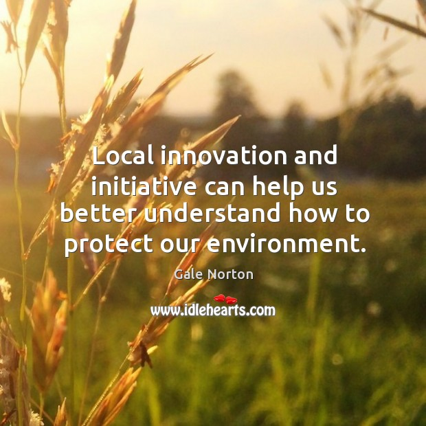 Local innovation and initiative can help us better understand how to protect our environment. Gale Norton Picture Quote