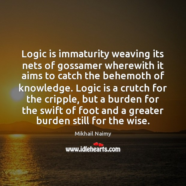 Image, Logic is immaturity weaving its nets of gossamer wherewith it aims to