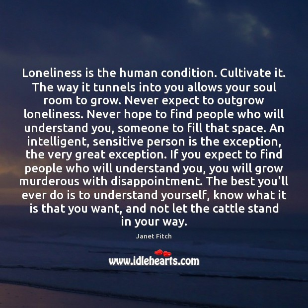 Loneliness is the human condition. Cultivate it. The way it tunnels into Loneliness Quotes Image