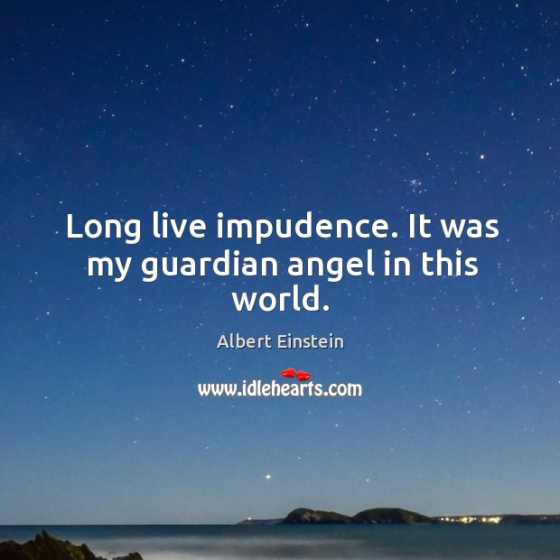 Image, Long live impudence. It was my guardian angel in this world.