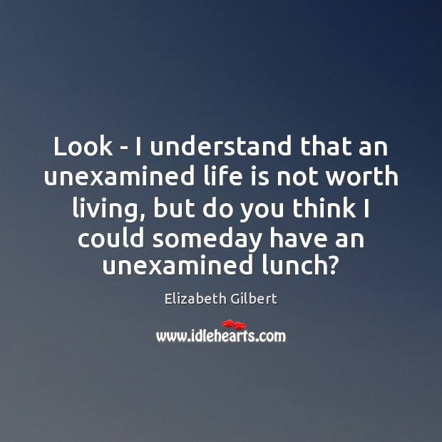 Look – I understand that an unexamined life is not worth living, Elizabeth Gilbert Picture Quote