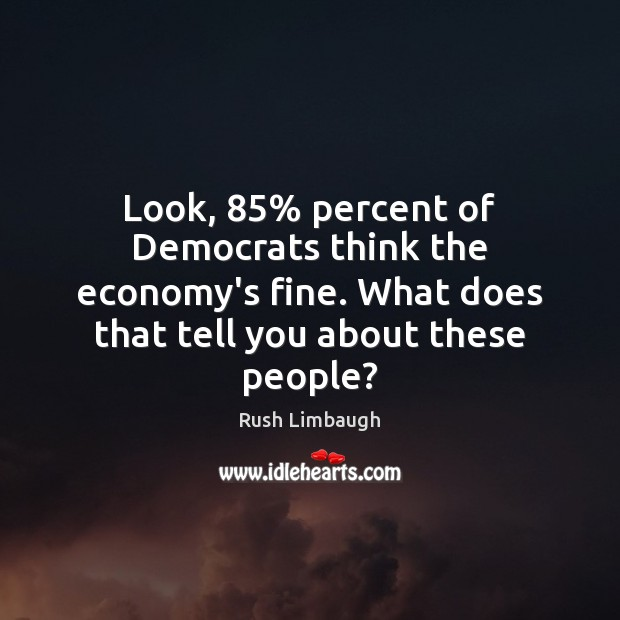 Look, 85% percent of Democrats think the economy's fine. What does that tell Image