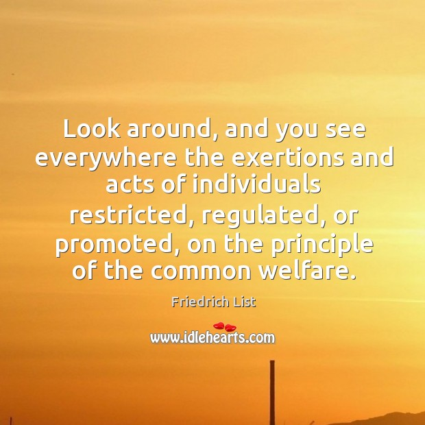 Look around, and you see everywhere the exertions and acts of individuals restricted Image