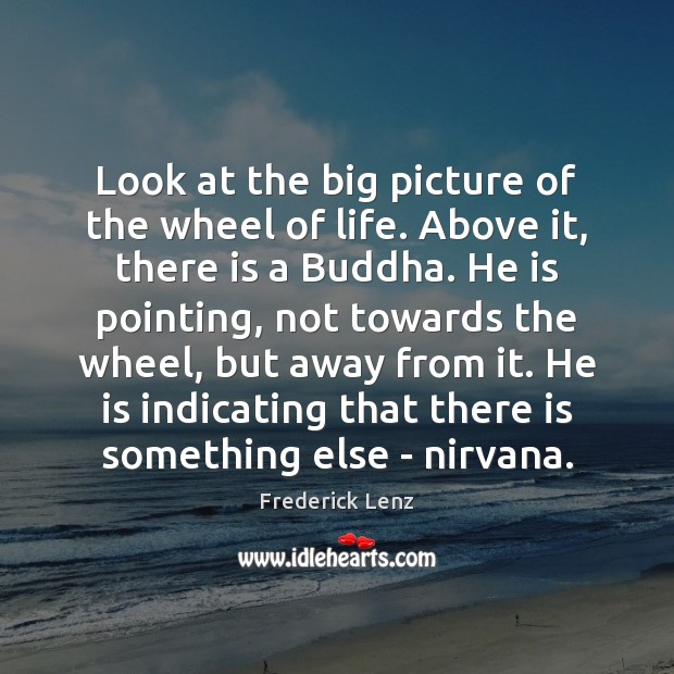 Look at the big picture of the wheel of life. Above it, Image