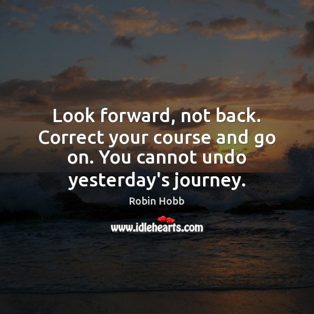 Look forward, not back. Correct your course and go on. You cannot Robin Hobb Picture Quote