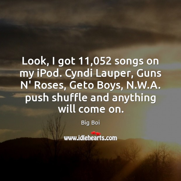 Image, Look, I got 11,052 songs on my iPod. Cyndi Lauper, Guns N' Roses,