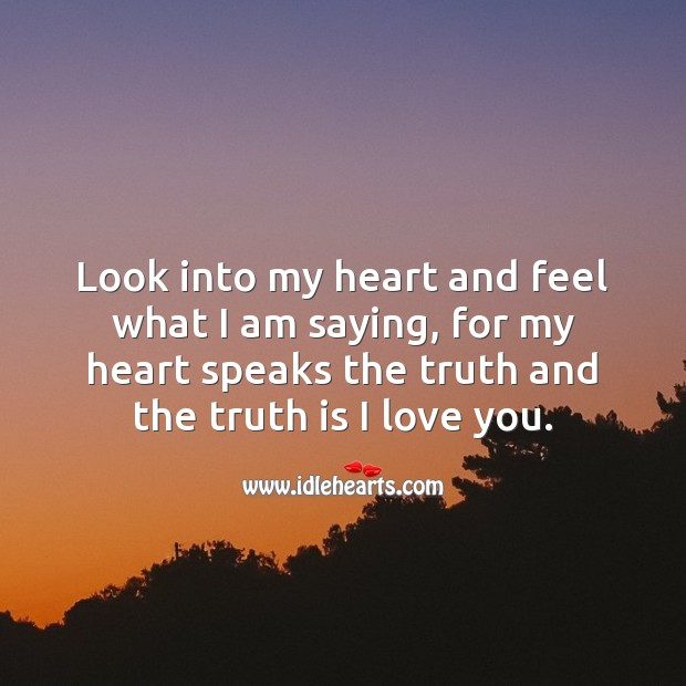Look into my heart and feel what I am saying. Truth Quotes Image