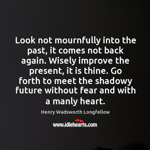 Image, Look not mournfully into the past, it comes not back again.