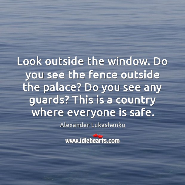 Look outside the window. Do you see the fence outside the palace? Image