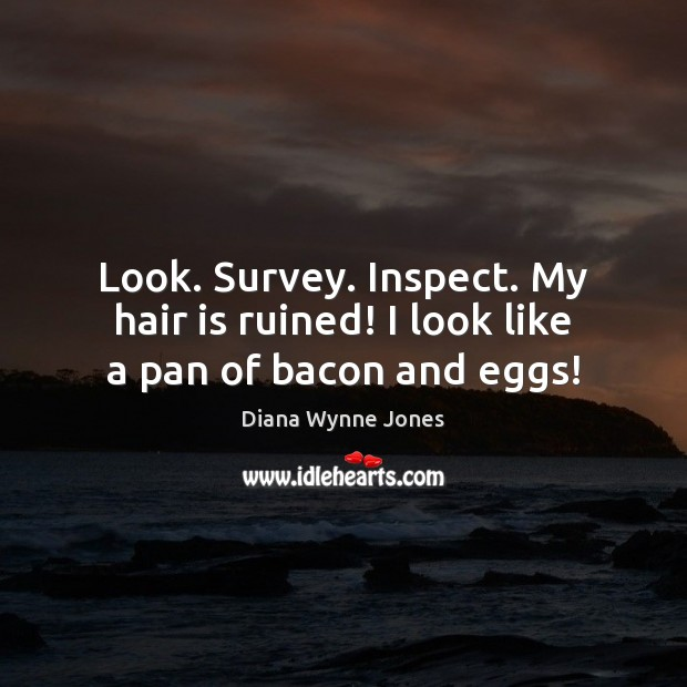 Look. Survey. Inspect. My hair is ruined! I look like a pan of bacon and eggs! Image