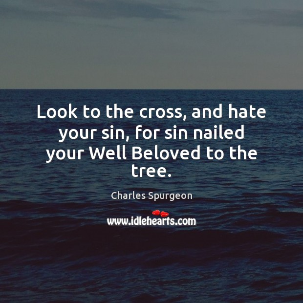 Look to the cross, and hate your sin, for sin nailed your Well Beloved to the tree. Charles Spurgeon Picture Quote