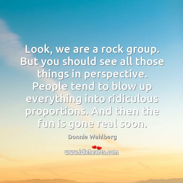 Look, we are a rock group. But you should see all those things in perspective. Donnie Wahlberg Picture Quote