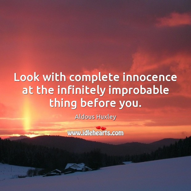Image, Look with complete innocence at the infinitely improbable thing before you.