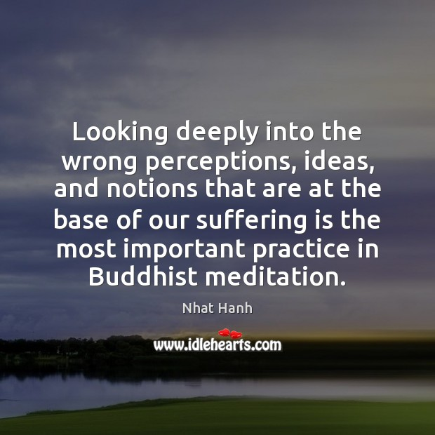 Looking deeply into the wrong perceptions, ideas, and notions that are at Nhat Hanh Picture Quote