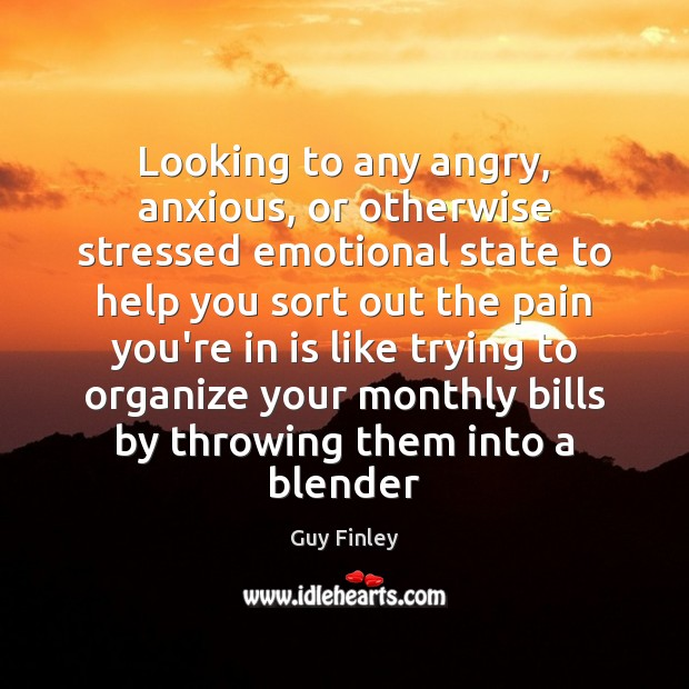 Looking to any angry, anxious, or otherwise stressed emotional state to help Guy Finley Picture Quote