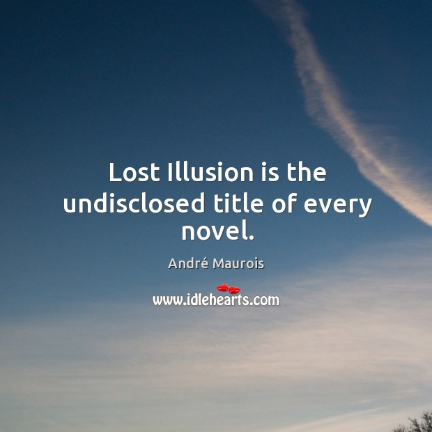 Image, Lost illusion is the undisclosed title of every novel.