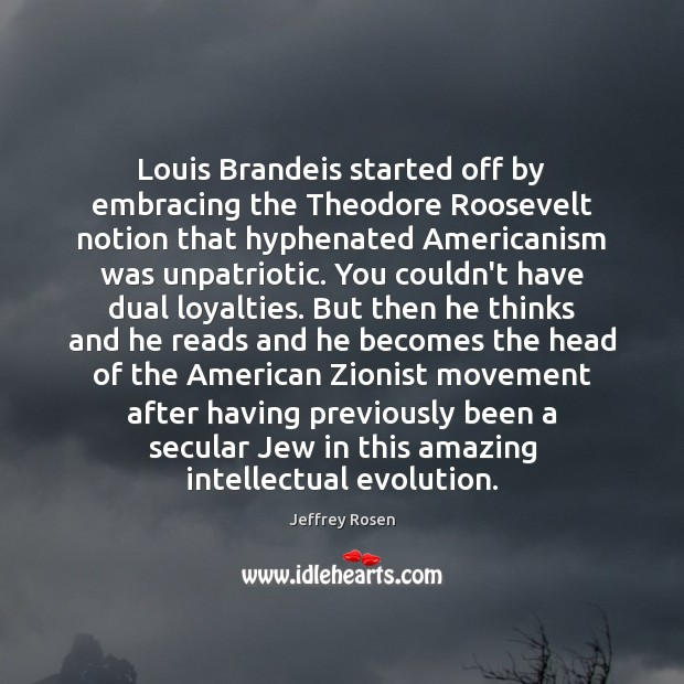 Image, Louis Brandeis started off by embracing the Theodore Roosevelt notion that hyphenated