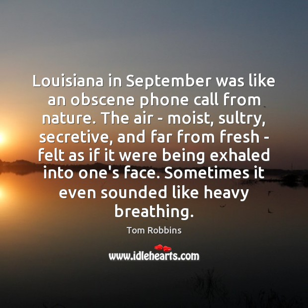Louisiana in September was like an obscene phone call from nature. The Image